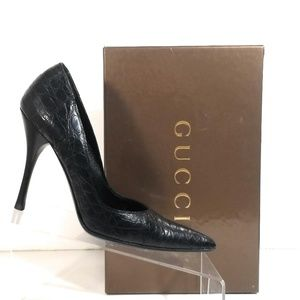 Gucci Women Caiman Black High Heels Pumps Sz 7 B
